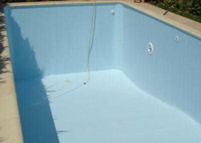 Επένδυση πισίνας-Εμφάνιση του μανδύα πριν την πλήρωση