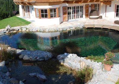 Φυσική πισίνα χωρίς χημικά-Χώρος κολύμβησης και χώρος βιολογικού καθαρισμού
